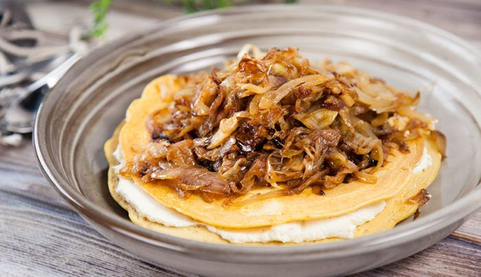 Chickpea Flatbread with Goats Curd and Caramelised Onions | Good Chef Bad Chef
