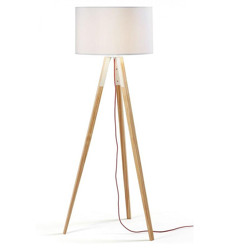 Lampara de pie Uzagui 151 de diseño moderno,Madera Natural Pantalla Blanca - Centrolandia