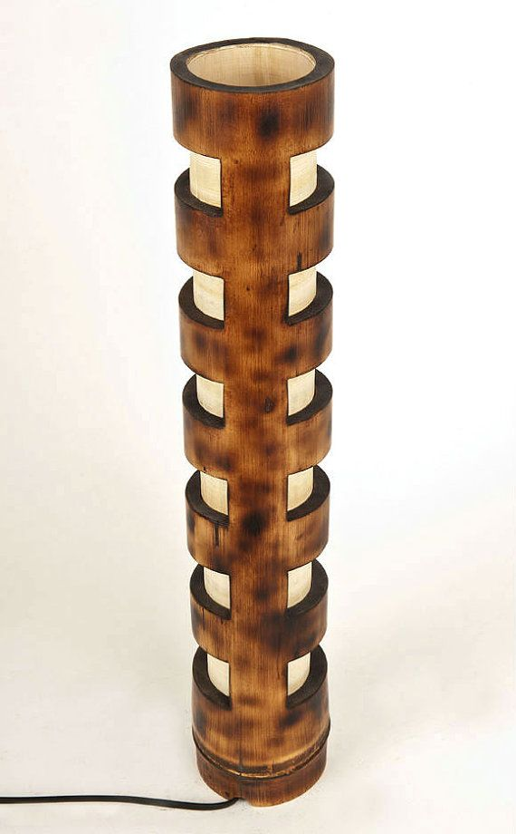 Wooden lamp rustic decor vintage lamp man cave Bamboo by bamboobg