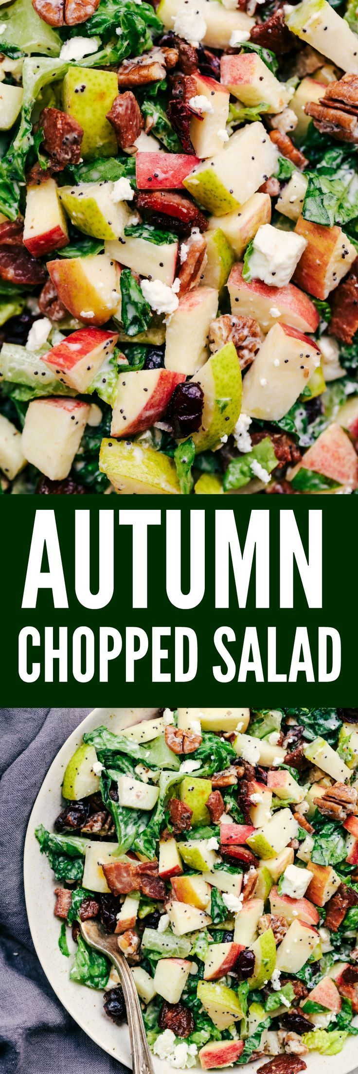 Autumn Chopped Salad with Creamy Poppyseed Dressing is all of your fall salad dreams come true! Crisp chopped apples, pears, romaine lettuce, crunchy pecans, bacon, cranberries and feta cheese combine in a creamy dressing to bring you one unforgettable salad!