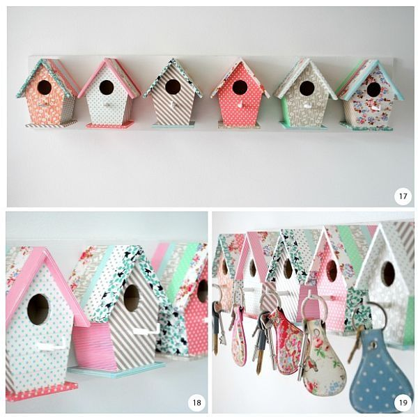 DIY, Key Hangers, Bird Houses, Fabric, Scrapbook/Pattern Paper, Quirky, Sweet, Kids Room, Cottage, Colourful