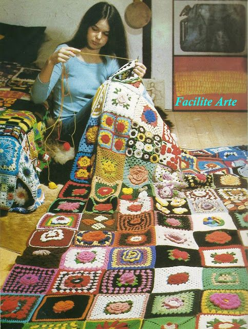Colcha em Crochê Quadrada de Retalhos Padrão -  /    Bedspread Crocheted  Square  Patchwork Standard -
