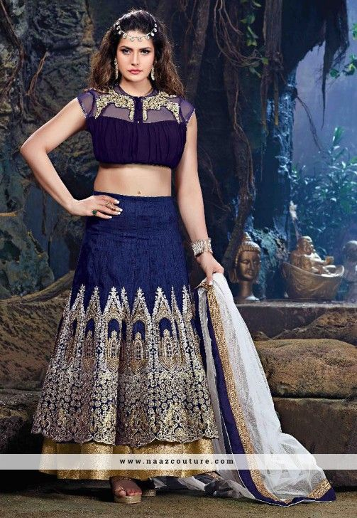 Zarine Khan Raw Silk And Net A Line Lehenga Choli