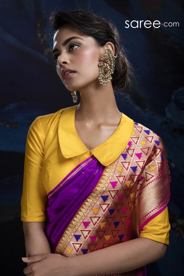 PURPLE AND BEIGE BANARASI SILK SAREE WITH WEAVING WORK