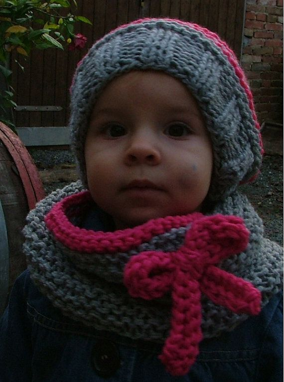 Knitting PATTERN ONLY for The Pink/Grey Hat and Scarf / Toddler $5.50 USD
