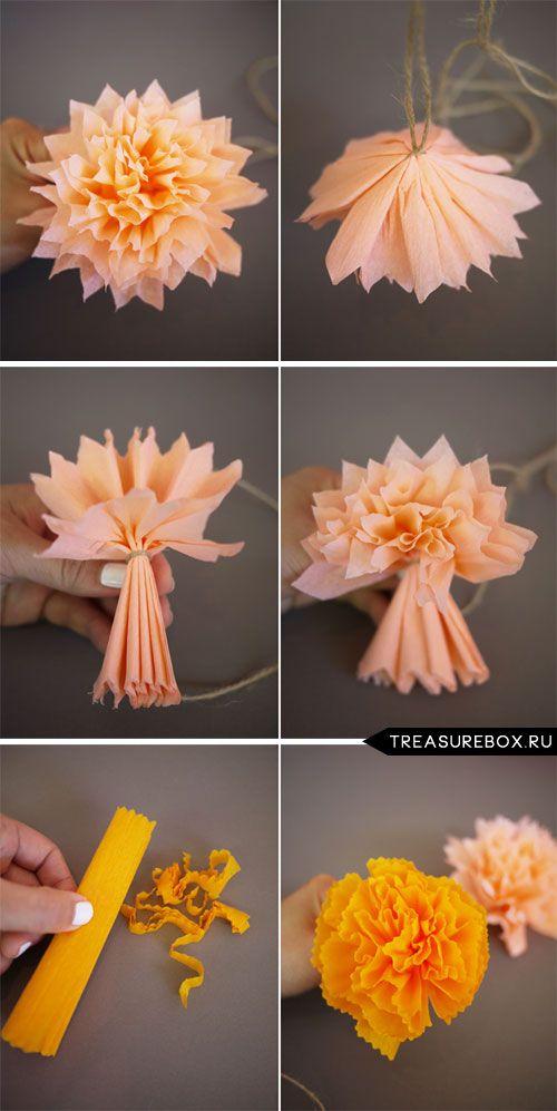 Как сделать большие цветы из бумаги мк