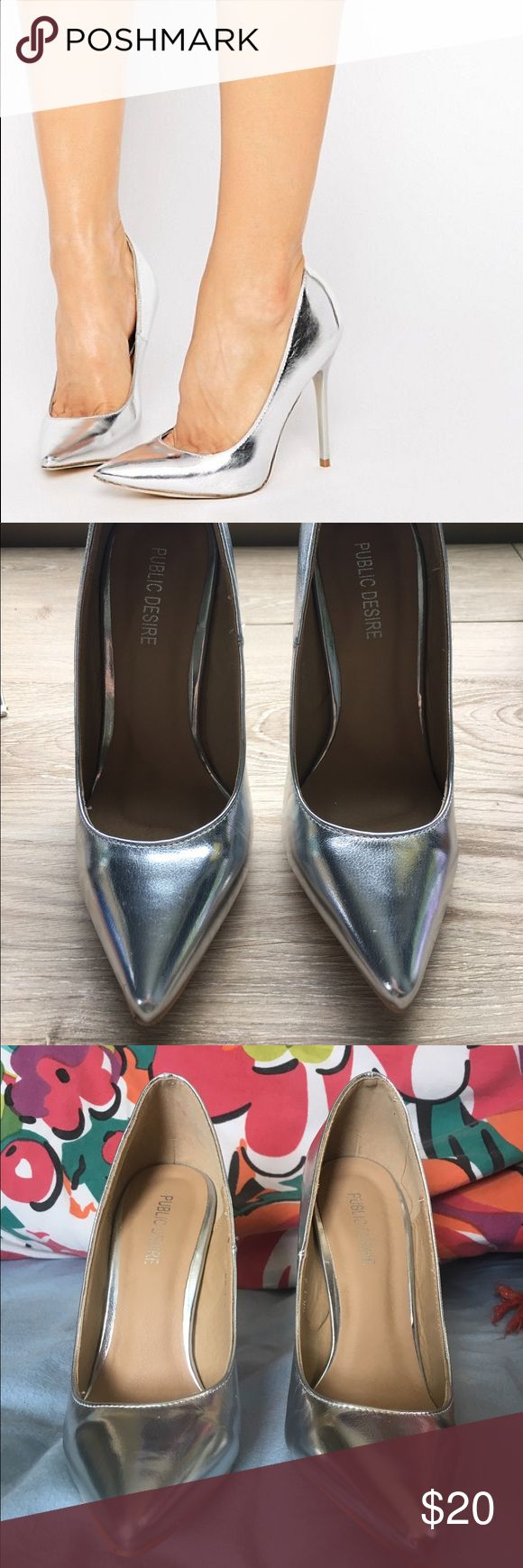 Public Desire Josie Silver Court Shoes Beautiful silver pumps by public desire, purchased on ASOS. Worn once in a bridal party. Great condition. Just has some marks on the sole from walking on cement and what not. Size 5. ASOS Shoes Heels
