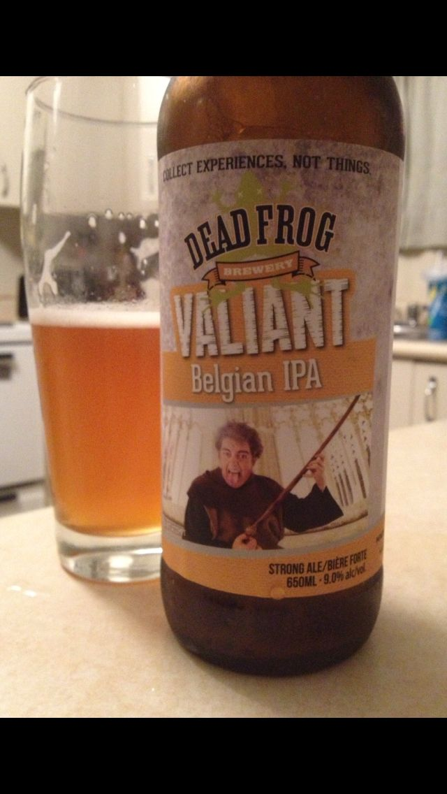 Valiant Belgian IPA by Dead Frog Brewery is an unfiltered hoppy IPA with a slight hint of citrus scoring 55 IBU's and 9.0% this is one of Dead Frog's best beers.