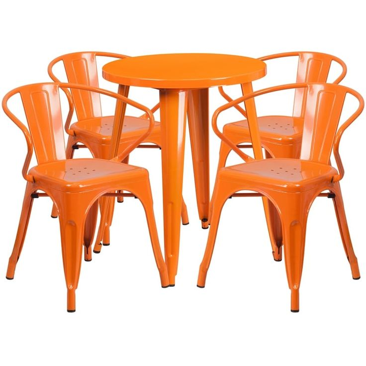 iHome Brimmes Round 24'' Orange Metal Indoor-Outdoor Table Set w/4 Arm Chairs for Restaurant/Bar/Pub/Patio, Size 5-Piece Sets, Patio Furniture