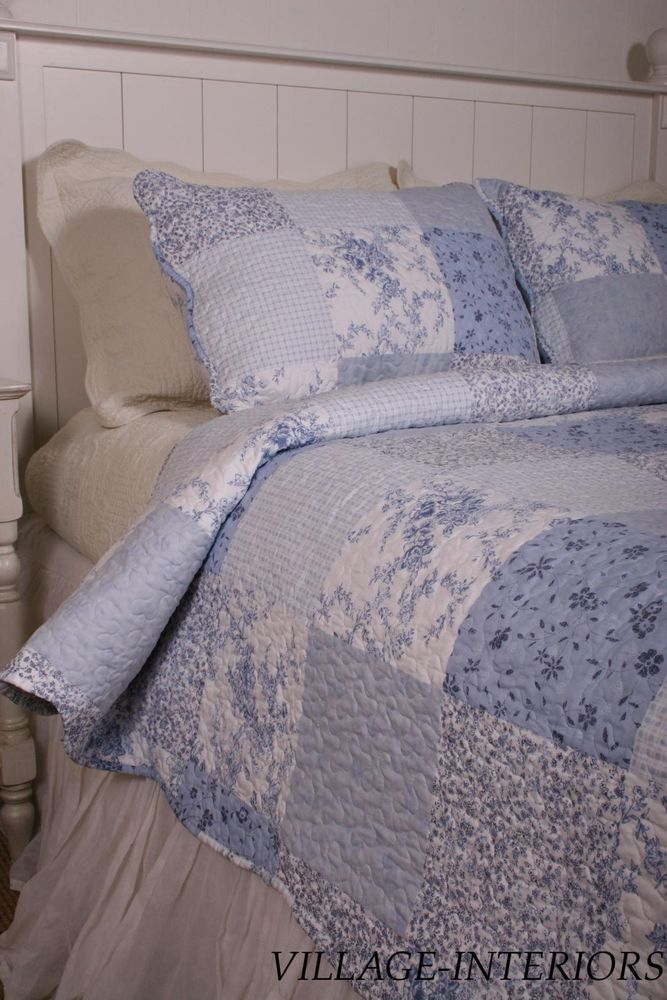 Oversize King Quilt  Cottage Classics Blue & White Floral Cotton Quilt #Cottage