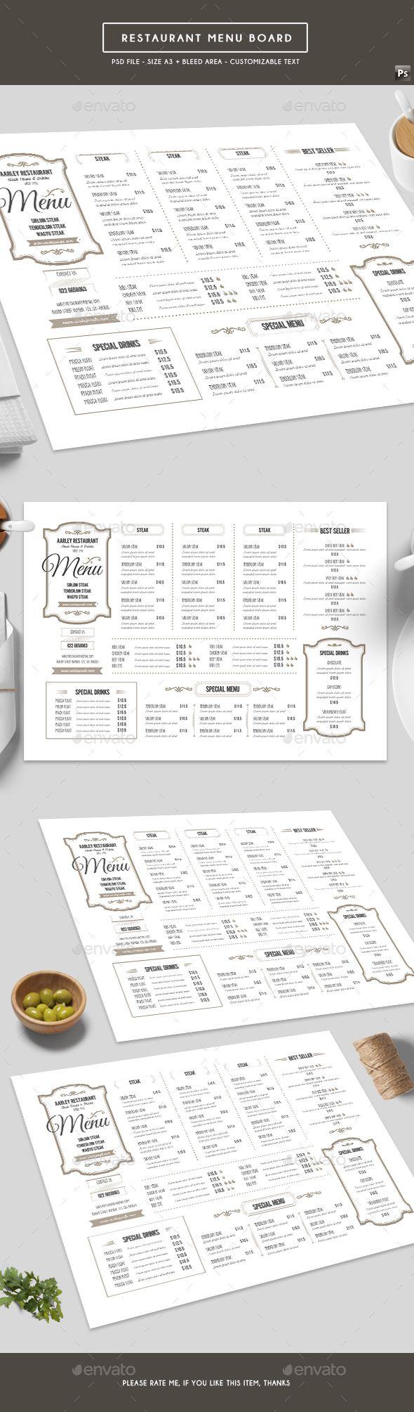 Restaurant Menu Board — Photoshop PSD #steak #menu design • Download ➝ https://graphicriver.net/item/restaurant-menu-board/19411860?ref=pxcr