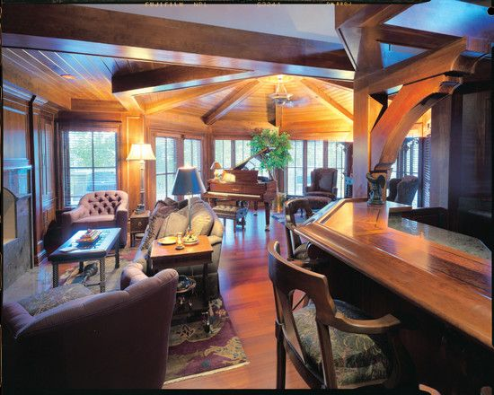 Classic Wood Lodge Completing Your Restful Live: Fascinating Classic Home Bar Design Colorado Lodge Family Room