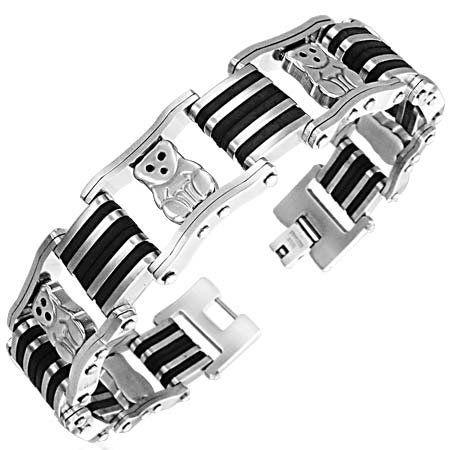#Bracelets, #Jewelry Edelstahl Kautschuk Herren Armband AB-CBB081 #Bracelets @ BrightJewelryStore.