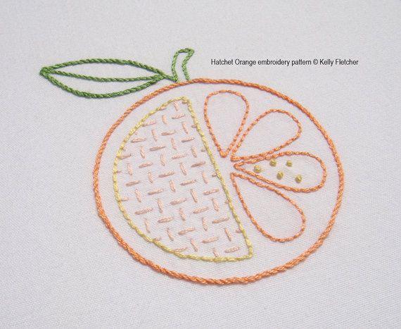 Hatchet Orange hand embroidery pattern by KFNeedleworkDesign, $3.00