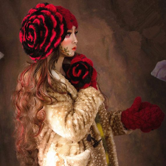 Winter flowers red hat Bailey Black Rabbit Hat от Sexy8baby