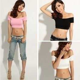 New Fashion Women\'s Sexy Hip-hop Off Shoulder Midriff-Baring Club Party T-Shirt Top