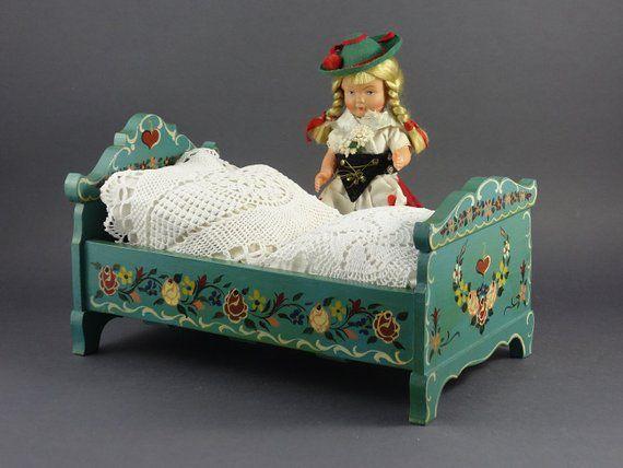 child decor Rare vintage doll furniture all wood hand made folk art pretend play vintage toys wooden toys miniature furniture dolls
