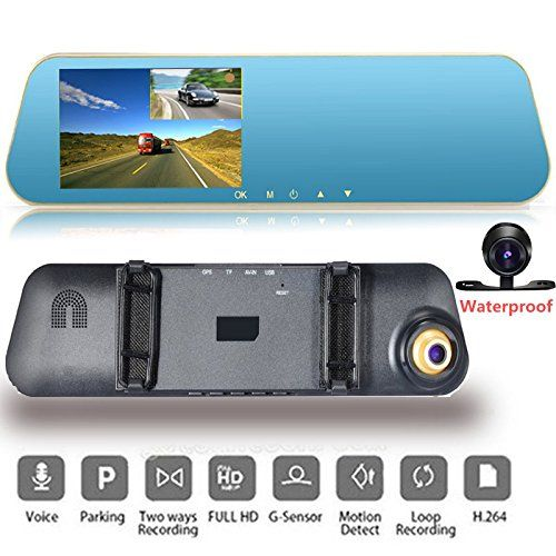 Car DVR Car Camera | Car Video Recorder Full HD 1080P | Car Video Camera 4.3 Inch LCD with Dual Lens for Vehicles Front & Rearview Mirror | DVR Vehicles Dash Cam