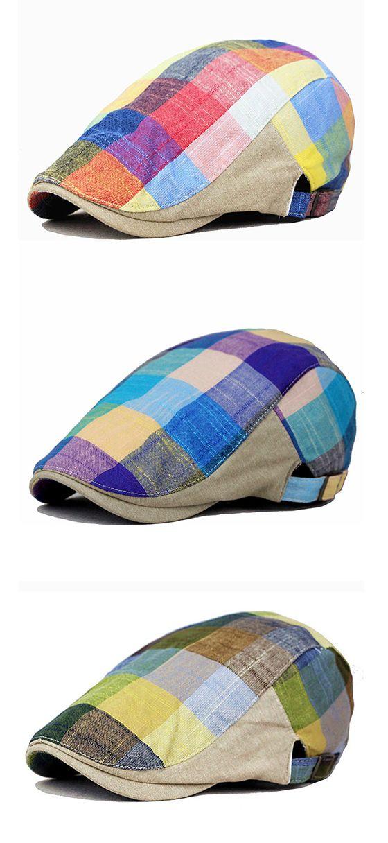 Men Women Cotton Colorful Plaid Cap Duckbill Ivy Cap / Flat Cabbie Newsboy Beret Hat