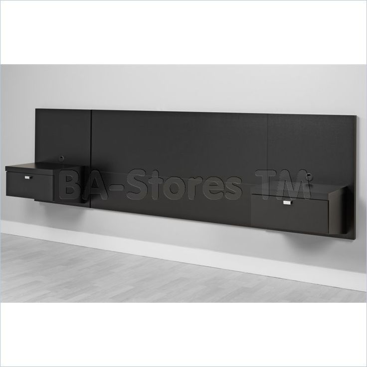 Prepac Black Series 9 Wall Mounted Headboard System With 2 Nightstands Gallery