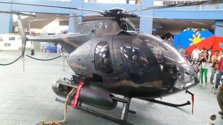 The Philippine Air Force MD-520MG Light Attack Helicopter. 520MG Defender Philippine military version. Special Forces version. Modified 500MG Defender that carry .50 caliber machine guns and 7-tube rocket pods and operates as a light attack aircraft.