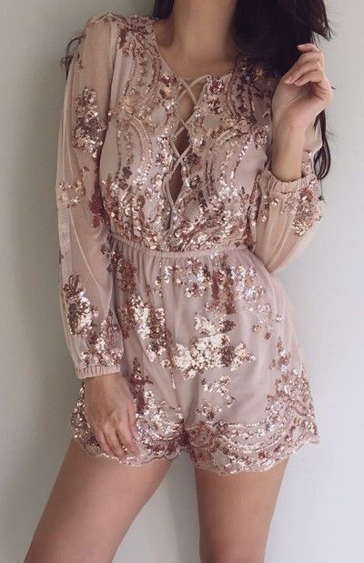 Brooklyn playsuit - rose gold Available from: http://www.chiffonboutique.co.nz/clothes/playsuits/brooklyn-playsuit-rose-gold