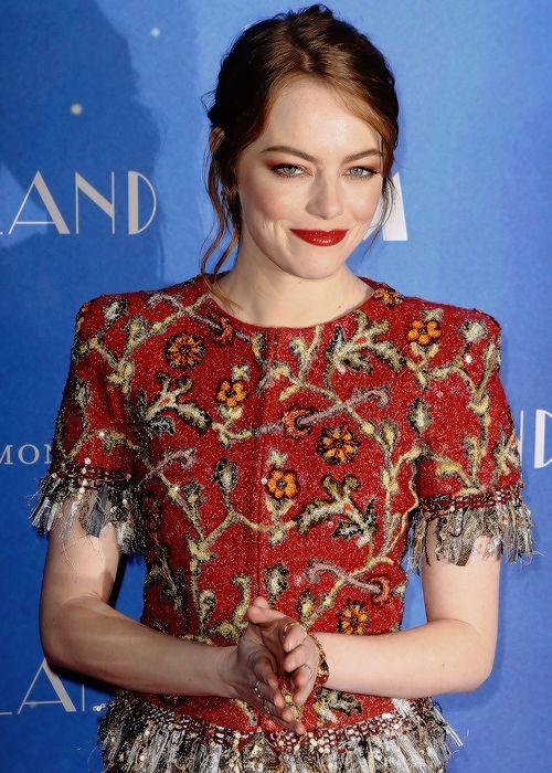 Emma Stone attends 'LA LA LAND' Premiere at Cinema UGC Normandie on January 10, 2017 in Paris, France.