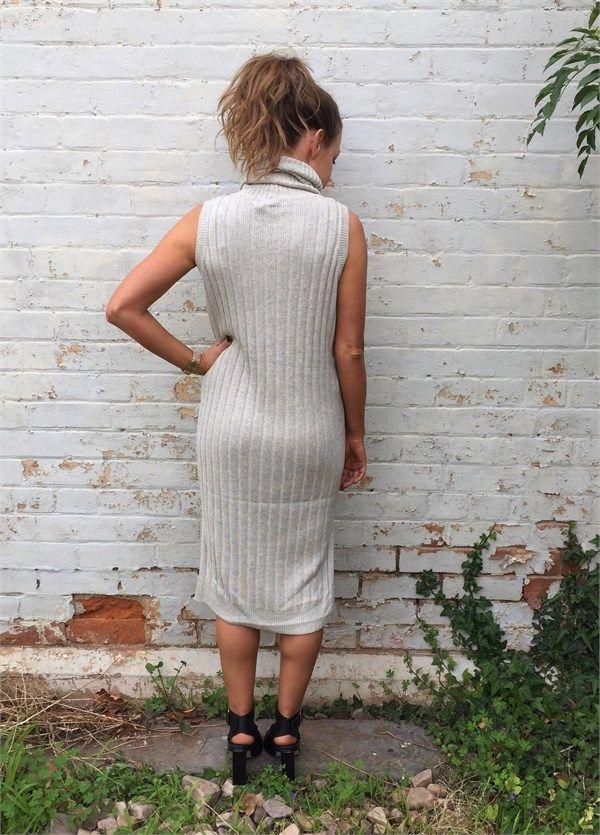 Azalia Boutique T5126 Azalia Inhouse Clever Cause Knit Dress - Grey   ARCHFASHION
