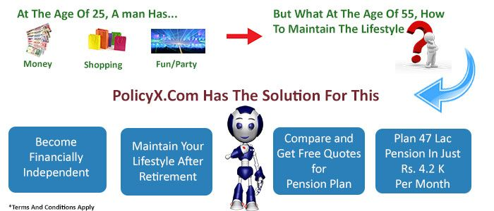 Get the Best Pension Plan quotes by simply doing pension plans comparison  from the India's Best insurance Comparison Portal. http://www.policyx.com/life-insurance/pension-plan-india.php
