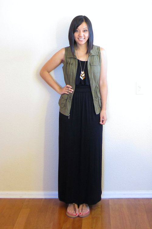 Green military vest w/ black maxi dress... Who would think they would look great together?