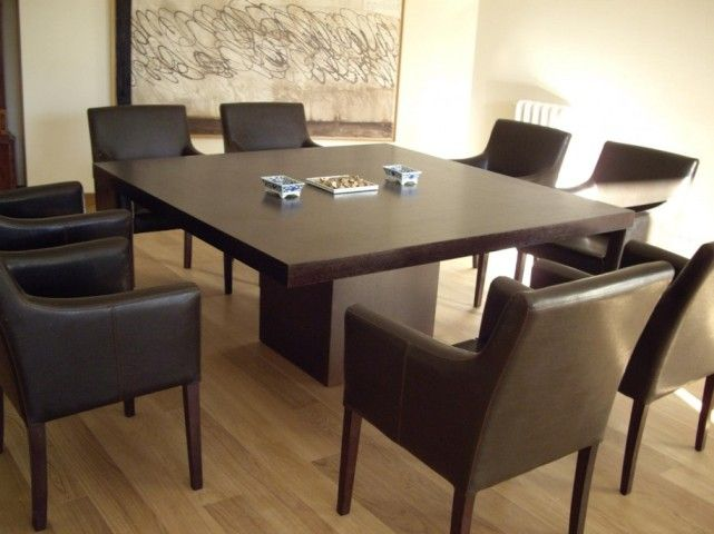 Square dining table for 8 people with natural floors