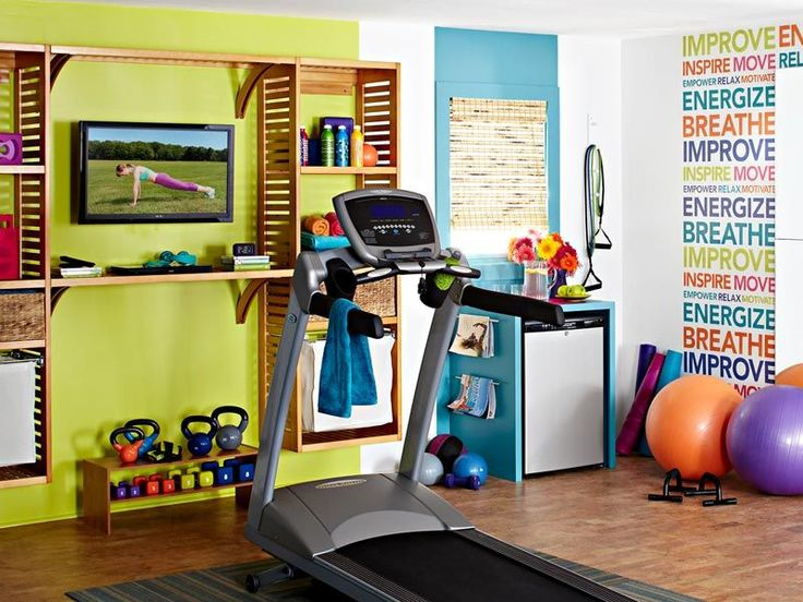 Eclectic Home Gym With Complex Marble Floors U0026 Built In Bookshelf . Part 49