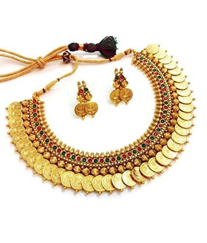 """THE PRODUCT COMES IN YOUBELLA BRANDED PACKAGING. PLEASE BEWARE OF SELLERS SELLING FAKE AND CHEAP REPLICA UNDER """"YOUBELLA"""" BRAND NAME. ALL GENUINE """"YOUBELLA"""" PRODUCTS ARE SOLD AND MARKETED BY YOUBELLA JEWELLERY AND LIFESTYLE.""""BUY MORE"""" IS AN AUTHORIZED DISTRIBUTOR OF BRAND """"YOUBELLA"""" IN SELECTED STATES. Designer Necklace Set Temple Coin Necklace Set"""