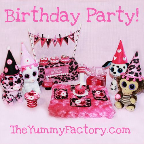 Beanie Boo Party. A Surprise Birthday Party with tea light cakes that light  up. All embroidered  13574f297bf