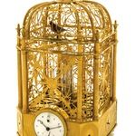 Exceptional Early & Small Singing Bird Cage Clock with Automaton Jumping Bird & Automaton Waterfall attributed to Jaquet-Droz et Leschot Geneva.