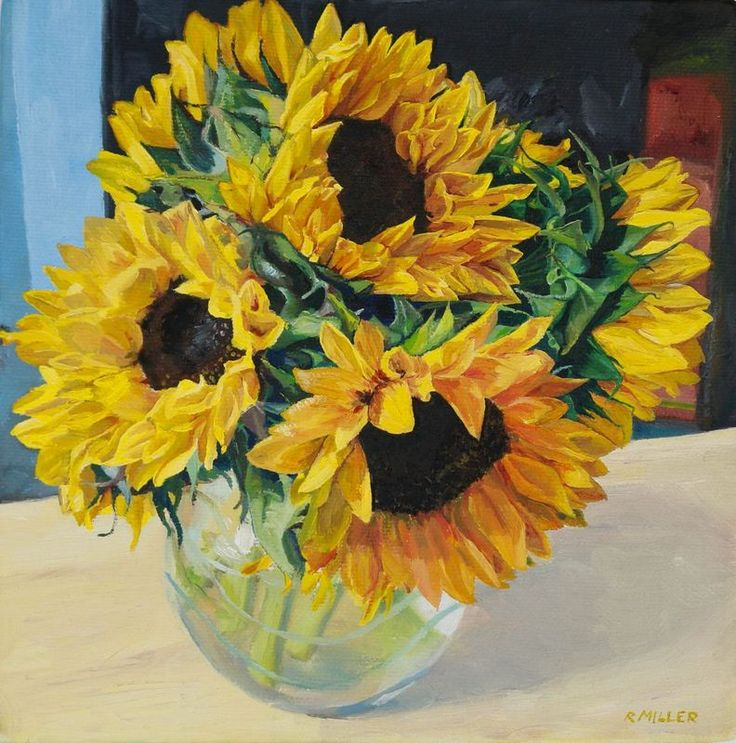 """""""Sunflowers"""" by Rebecca Miller. Oil painting on Canvas, Subject: Flowers and plants, Impressionistic style, One of a kind artwork, Signed on the front, This artwork is sold unframed, Size: 20.5 x 20.5 x 3.5 cm (unframed), 8.07 x 8.07 x 1.38 in (unframed), Materials: Artists oil paints and box canvas."""
