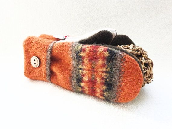 Fall Colors Mittens PUMPKIN SPICE Orange Mittens by WormeWoole