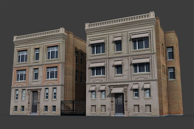 city buildings pack 3d model low-poly max obj mtl fbx tga 12