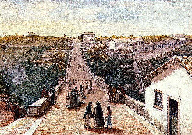 Ponte de Santa Ifigênia, 1827, aquarela sobre papel, 14,50 x 20,60 cm.