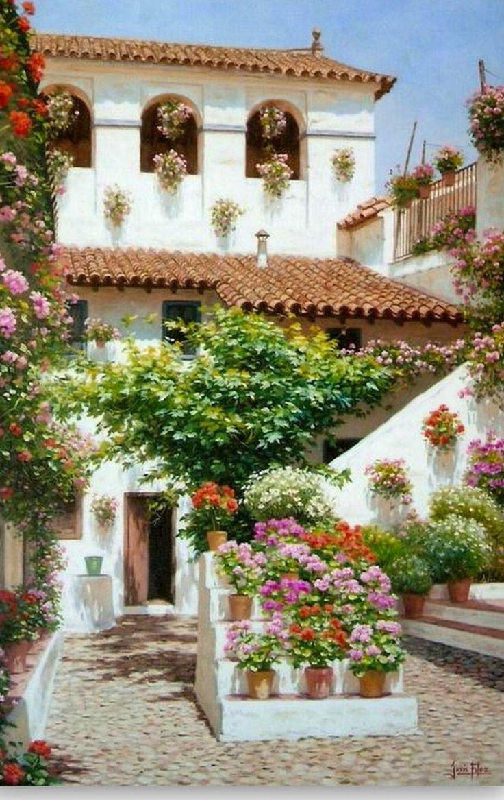 Pinturas: Paisajes con Flores Cuadros de Paisajes con Flores Paisajes con Flores pintados en Óleo Sobre Lienzo PintorJesús Fernández Rome...