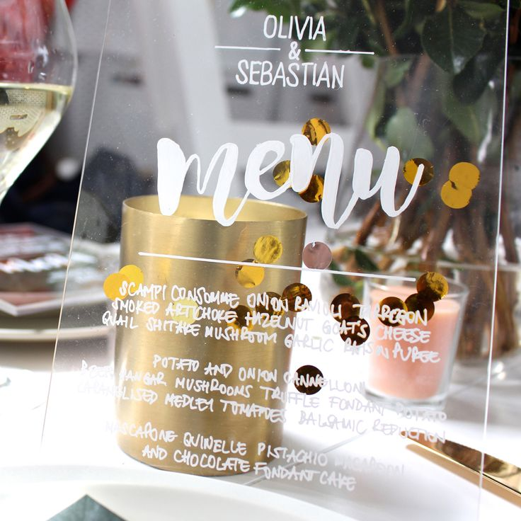 DIY botanic perspex menu  http://www.balibrides.com.au/bali-wedding-packages