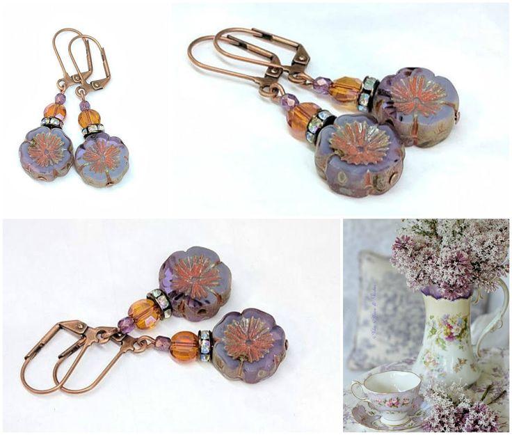 Lavender Purple Flower Beaded Earrings, Czech Hawaiian Glass, Colorful Boho Chic Jewelry, Dangle Drop, Gift For Her #mothersdaygift #giftformom #giftidea #giftforher #earrings #jewelry #jewelrygift