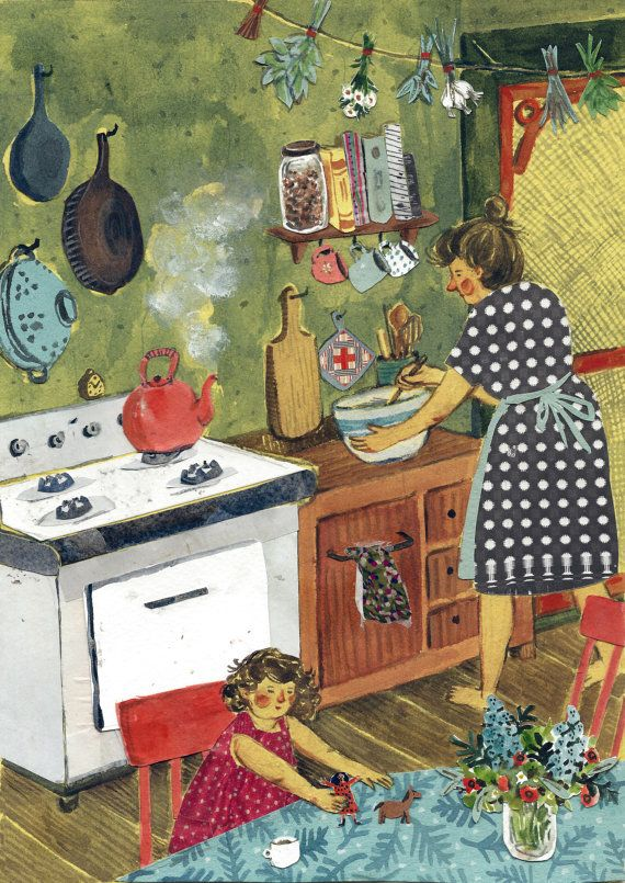 Afternoon in the Kitchen !! This is such a sweet pic!! Mom is cooking and the little girl is happily playing while waiting for her mommy's food to be ready!! Aline ♥: