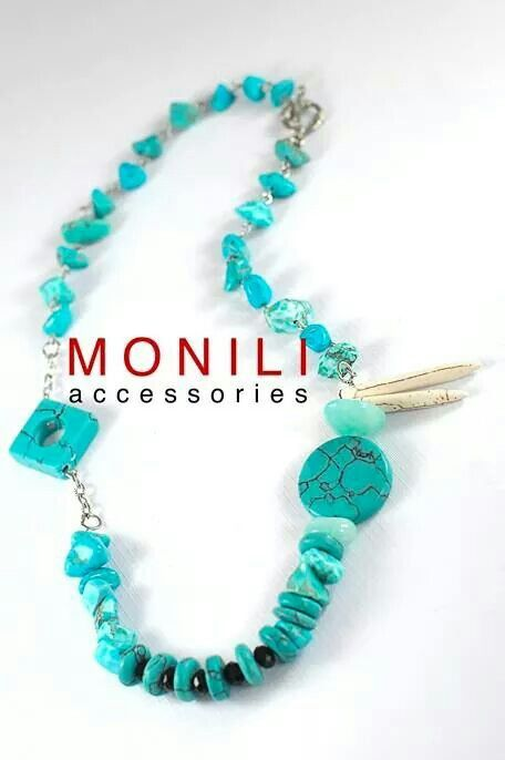 mixed shape of turquoise beads statement necklace by MONILI