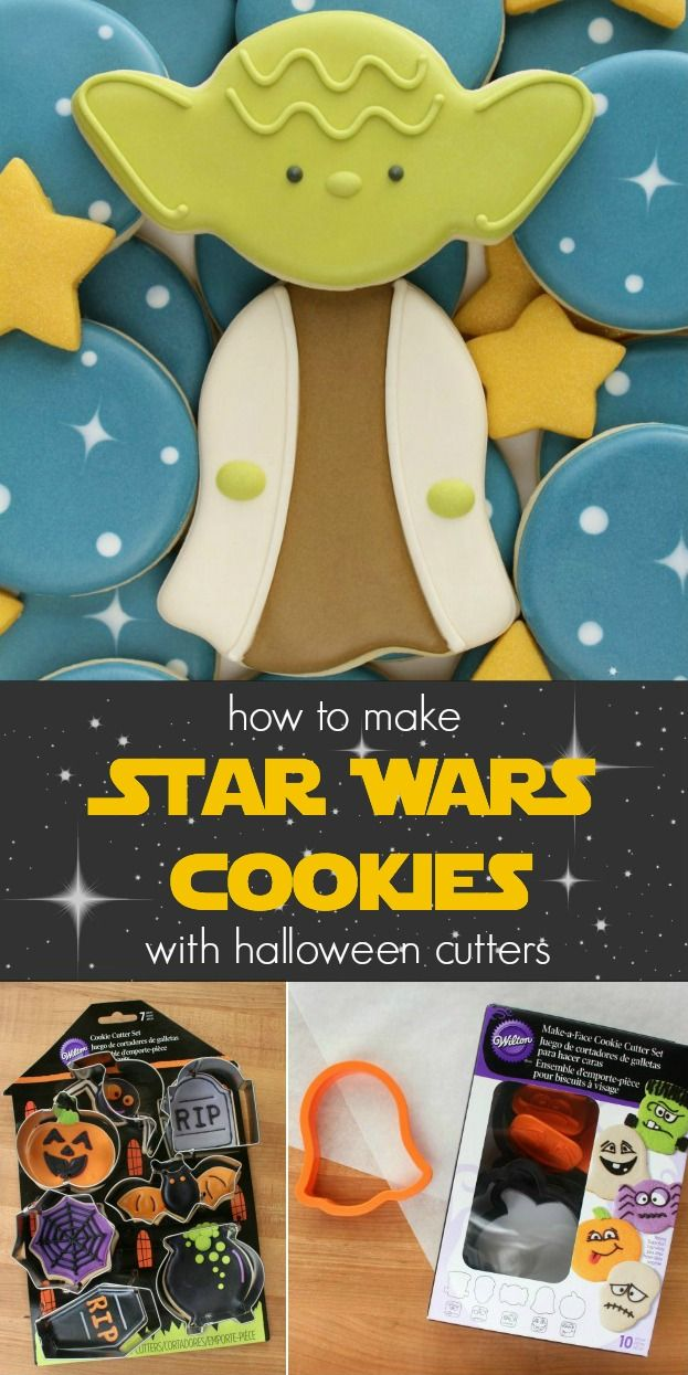 how to decorate yoda cookies using wilton halloween cutters - via sweetsugarbelle.com
