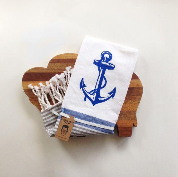 VENTE - ancre nautique cuisine torchon - torchon - bleu blanc gris gris - rayures - Decor cuisine cuisson marin voile, plage mer