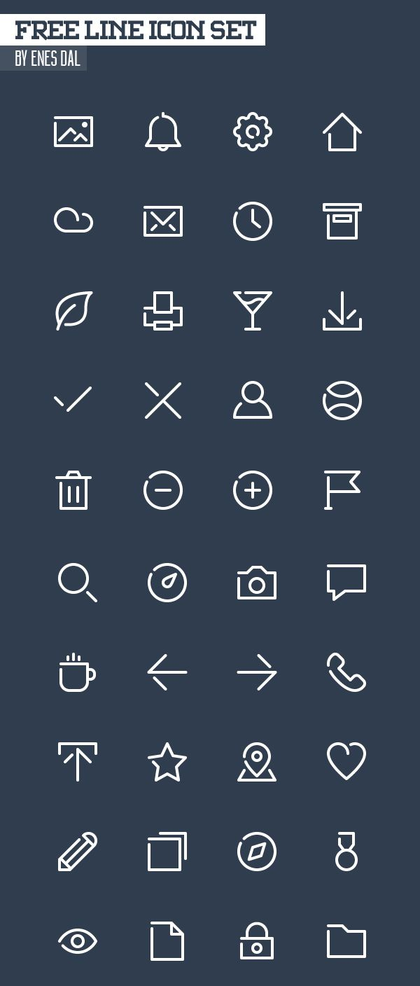 Free Line Icon Set - 40 Icons (SVG, PNG, CHS & ICO) #freeicons #freepsdicons #lineicons #vectoricons #outlineicons