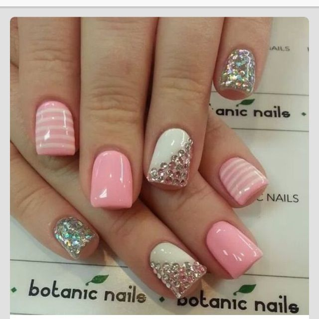 Nails, nail art, nail design, pink, white, sparkly