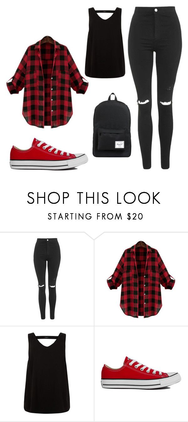 """""""Blac&red"""" by liveevil94 on Polyvore featuring moda, Topshop, Converse i Herschel Supply Co."""