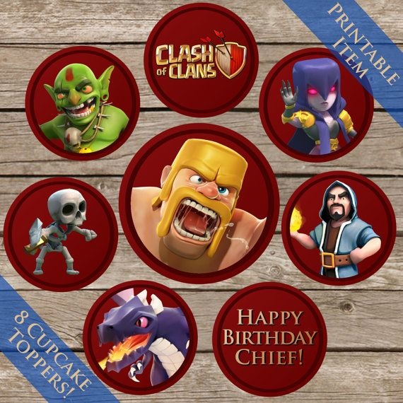 2 Clash Of Clans Cupcake toppers Digital Download by ClipArt911